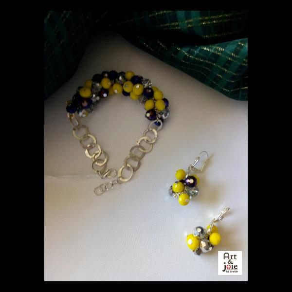 Image de Bracelet avec boucles d'oreilles jaune et violet