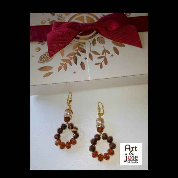 Image de Boucles d'oreilles dorées marron