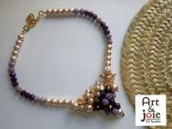 Image de Collier tendance violet et blanc