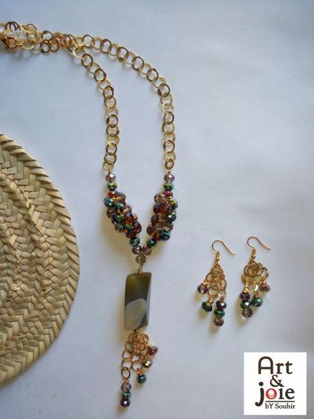 Image de Série agate et cristaux vert avec rihanna doré