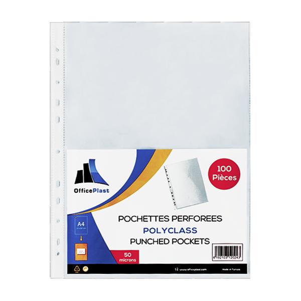 Image de Paquet de 100 pochettes perforées PERFORATA en polypropylène lisse 50 microns