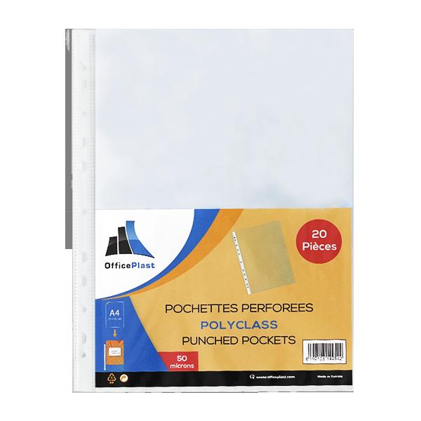Image de Paquet de 20 pochettes perforées PERFORATA en polypropylène lisse 50 microns