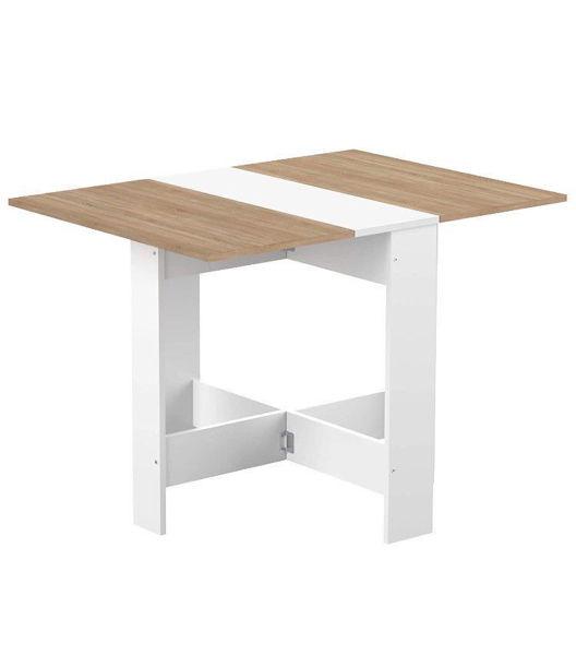 Image de Table pliable- 76*103* h 74cm - Blanc  - Effet bois