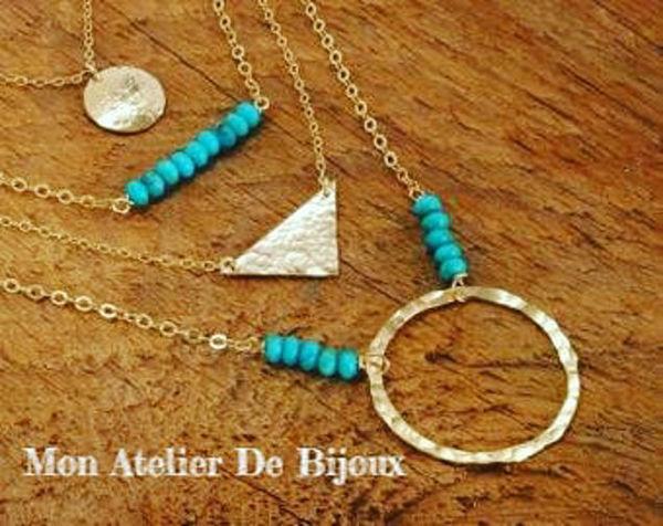 Image de 4 collier tendance bleu en argent