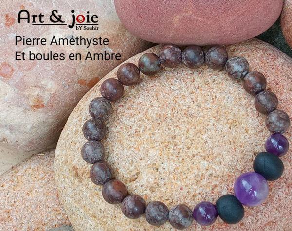 Image de Bracelet pour homme en Pierre Améthyste et boules en Amber