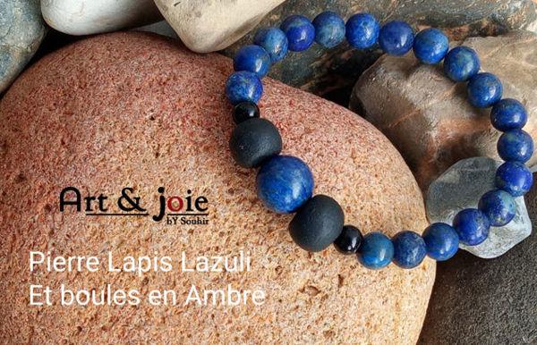 Image de Bracelet pour homme en Pierre Lapis Lazuli et boules en Amber