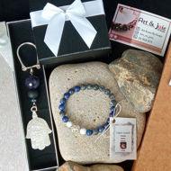 Image de Bracelet Pour Homme en Pierre Lapis Lazuli et Map Jasper et argent et porte clé en Ambre