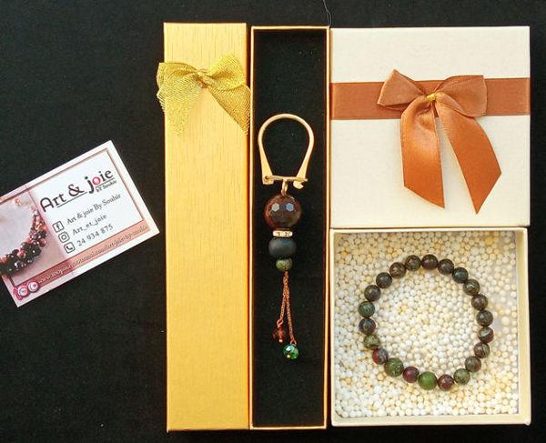 Image de Coffret bracelet en Pierre Jasper africain et porte clé en Ambre et agate