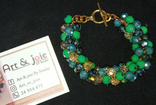 Image de Bracelet doré en cristaux vert