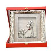 Image de Cadre palmier et chameau martelé avec coffret
