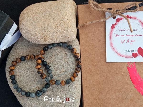 Image de Coffret pour couple bracelet en pierre Oeil De Tigre