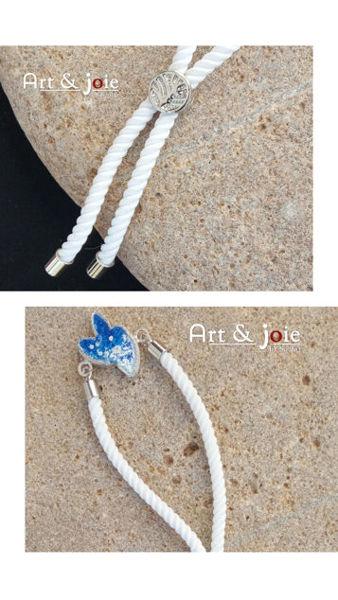 Image de Bracelet ajustable avec motif en argent émaillé