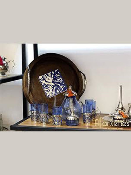Image de Plateau rond en bois et set-de-thé