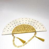 Image de Eventail pour mariage - Manche en cuivre doré