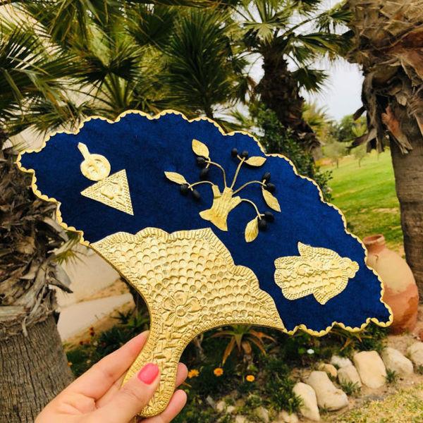 Image de Eventail Amber doré et bleu - Manche mince