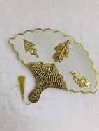Image de Eventail Amber doré et blanc - Manche mince