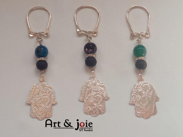 Image de Porte clé avec motif khomsa et Pierre et amber