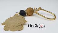 Image de Porte cle dore avec Pierre agate et Amber et Motif khomsa