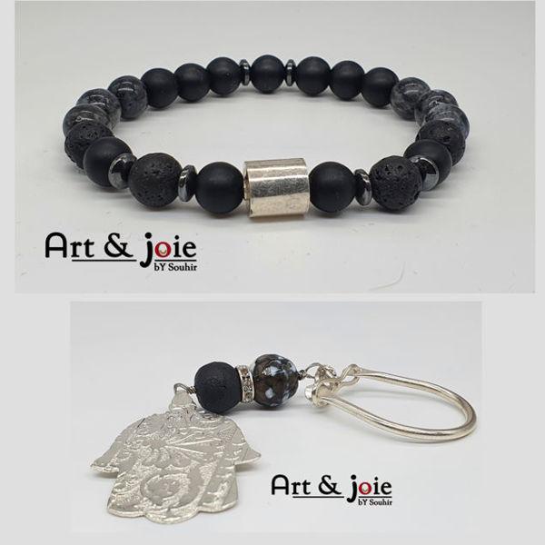 Image de Bracelet avec motif en argent et porte cle avec Pierre agate et Amber et Motif khomsa