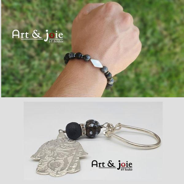 Image de Bracelet avec motif en argent et porte cle avec Pierre et amber et Motif khomsa