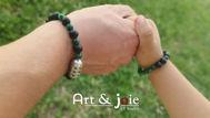 Image de Coffret special fete des peres bracelet en pierre naturelle et Motif en argent émaillé