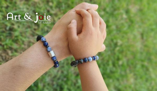 Image de Coffret special fete des peres bracelet en pierre naturelle et Motif en argent