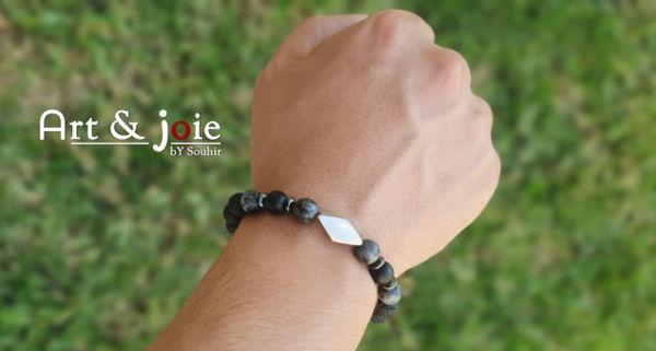 Image de Bracelet en pierre naturelle et Motif en argent