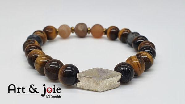 Image de Bracelet en pierre naturelle oeil de tigre et Pierre de roche et hematite et Motif losange en argent