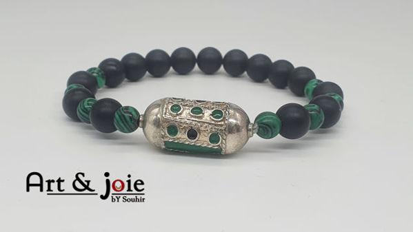 Image de Bracelet en pierre malachite et Motif en argent émaillé