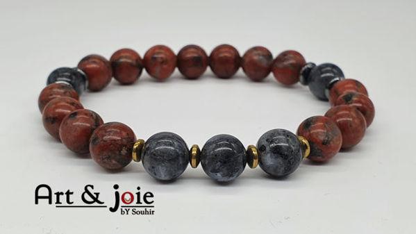 Image de Bracelet en pierre jaspe rouge et hematite