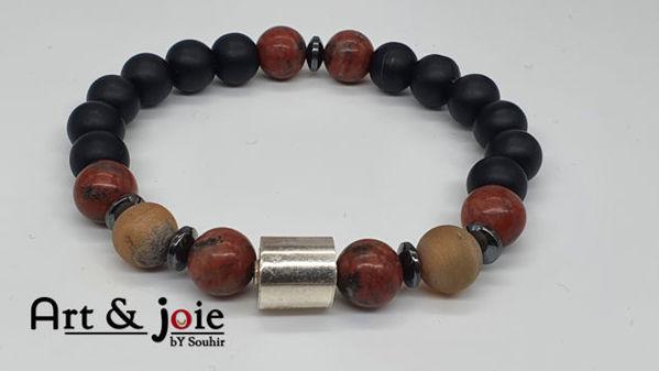 Image de Bracelet en pierre jaspe rouge et Pierre de roche et Motif en argent