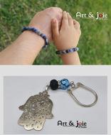 Image de Coffret special fete des peres bracelet en pierre sodalite et Pierre Swarovski / porte cle avec Pierre agate et Amber et Motif khomsa