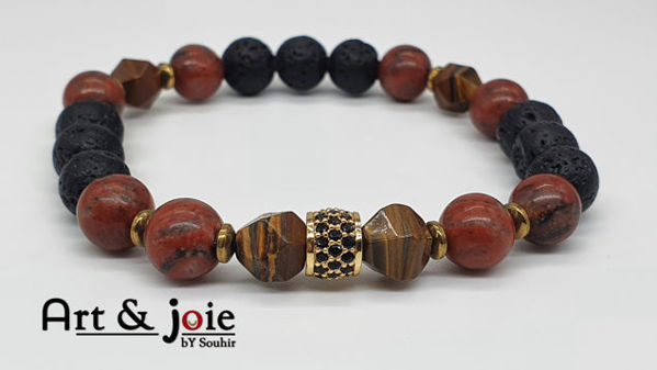 Image de Bracelet homme en Pierre œil de tigre , jaspe rouge , pierre de lave , hematite et boule Swarovski