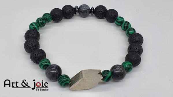 Image de Bracelet homme en Pierre malachite et Pierre de lave et Map jaspe et hematite et Motif losange en argent