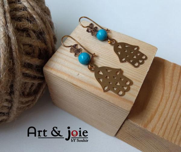Image de Boucles d'oreilles khomsa en argent doré et turquoise