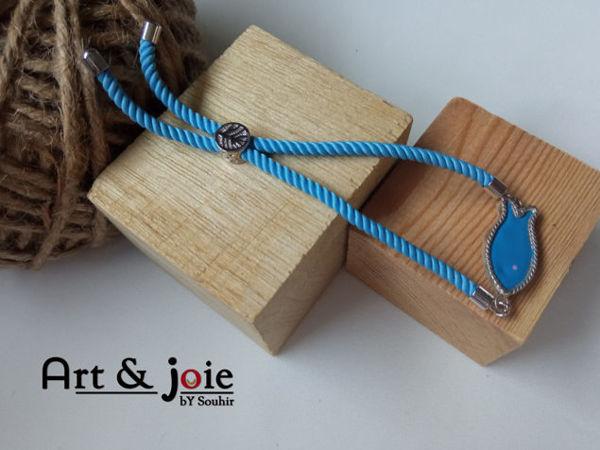 Image de Bracelet ajustable avec motif houta en argent emaille