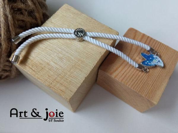 Image de Bracelet ajustable avec motif en argent emaille