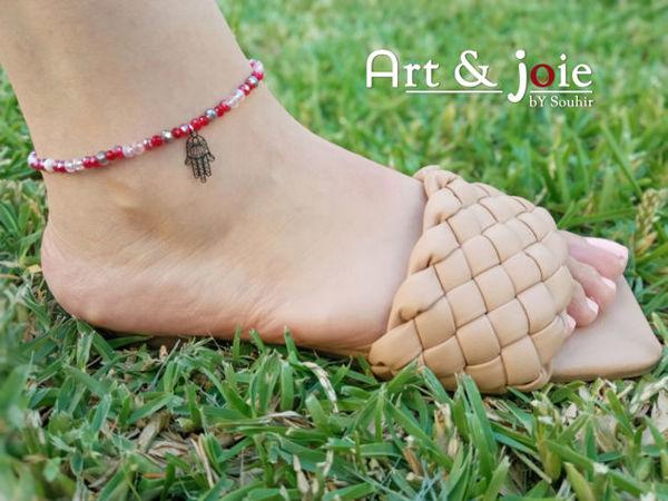 Image de Bracelet cheville avec motif khomsa en acier inoxydable