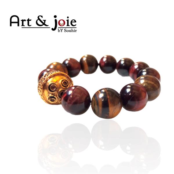 Image de Bracelet femme en pierre oeil de tigre et boule en argent dore emaille