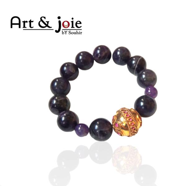 Image de Bracelet femme en pierre améthyste et boule en argent dore emaille