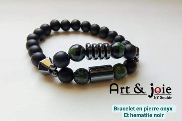 Image de Bracelet homme en Pierre onyx noir matte et hematite noir