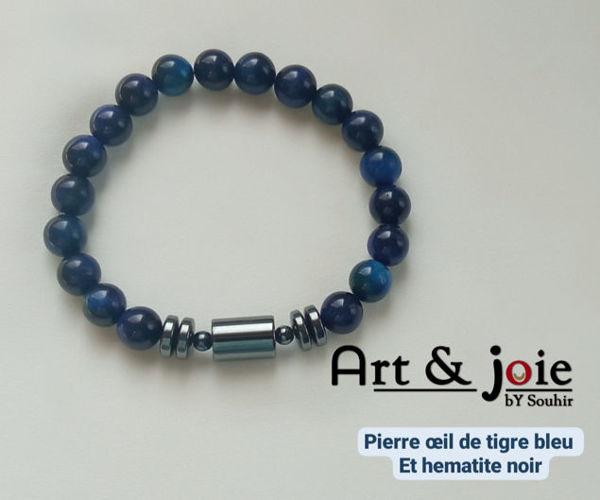 Image de Bracelet homme et femme en pierre œil de tigre bleu et hematite noir