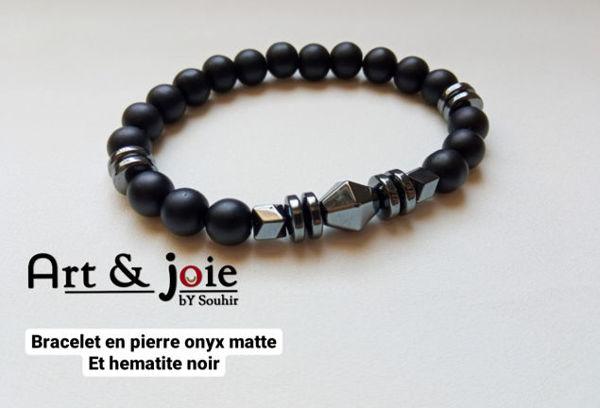 Image de Bracelet homme et femme en pierre onyx noir matte et hematite noir
