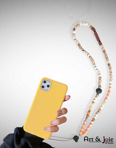Image de Chaîne téléphone en pierre agate et boule amber