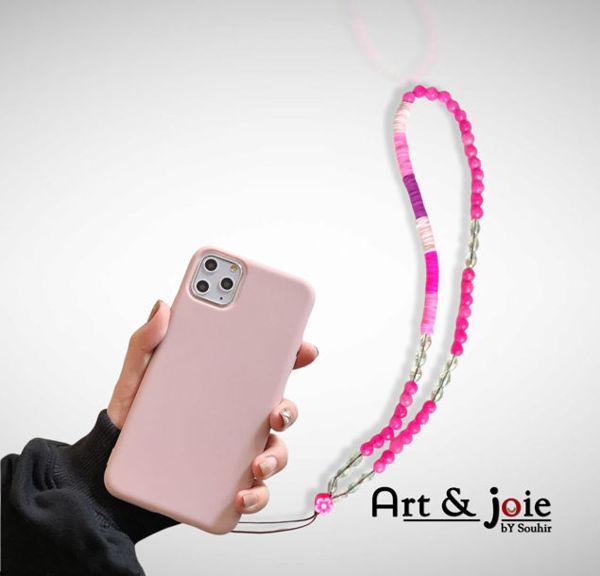 Image de Chaîne téléphone en pierre agate rose