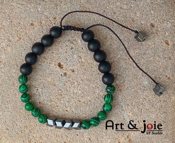 Image de Bracelet ajustable en pierre malachite et onyx matte noir