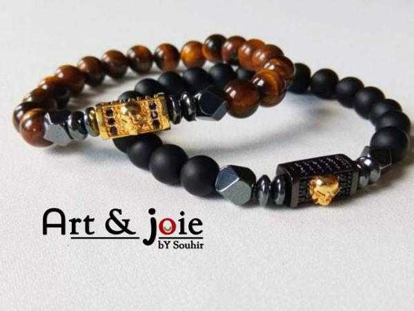 Image de Bracelet couple en pierre œil de tigre , onyx mate , hématite noir et motif Swarovski doré / noir