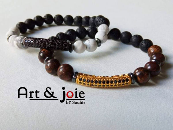 Image de Bracelet couple en pierre bronzite , pierre de lave , Howlite , hematite noir et motif Swarovski doré / noir