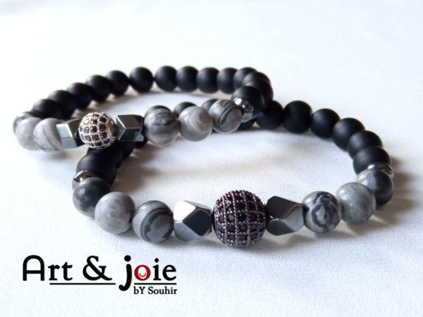 Image de Bracelet couple en pierre jasper gris , onyx mate , hematite noir et boule Swarovski noir / argent