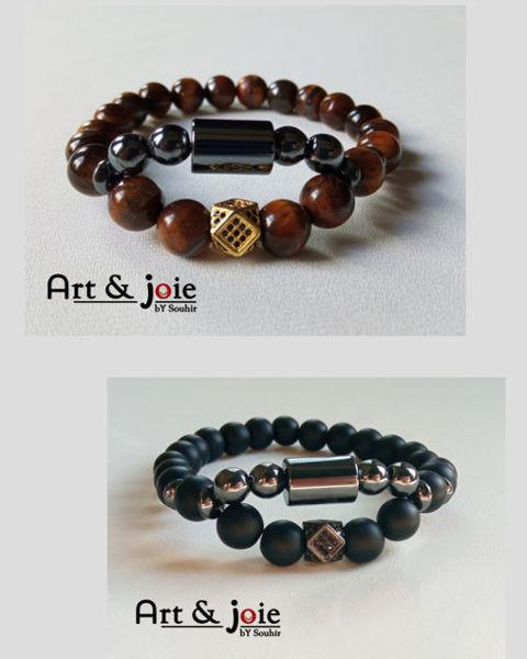 Image de Bracelet couple en pierre œil de tigre , onyx mate , hématite noir et motif Swarovski noir / doré
